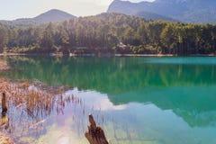 Belle riflessioni nel lago Doxa in Grecia Fotografia Stock Libera da Diritti