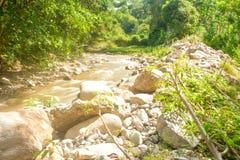 Belle rivière de Paniki avec l'eau brunâtre et l'écoulement doux photos stock