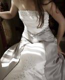 Belle robe d'argent de mariée Photos stock