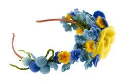 Belle rose blu e gialle fatte di lana Fotografia Stock