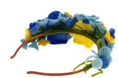 Belle rose blu e gialle fatte di lana Fotografia Stock Libera da Diritti
