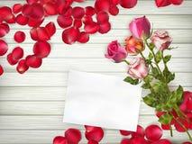 Belle rose con la carta di regalo ENV 10 Immagini Stock Libere da Diritti