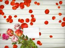 Belle rose con la carta di regalo ENV 10 Immagine Stock Libera da Diritti
