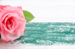 Belle rose de rose avec le sable vert sur un fond en bois blanc Photos libres de droits