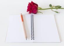 Belle rose de rouge, fond de blanc de carnet Photos stock