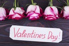Belle rose fresche per il giorno di biglietti di S. Valentino Immagini Stock Libere da Diritti