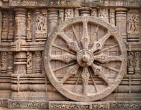 Belle roue de char, temple de Konark Sun, Orissa Photo libre de droits
