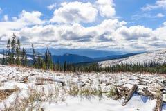 Belle route de notation canadienne en hiver images stock