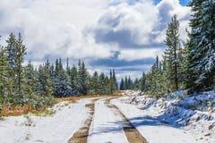 Belle route de notation canadienne en hiver photographie stock libre de droits