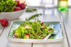Belle salade verte saine de Paleo avec les pois et le radis photo stock