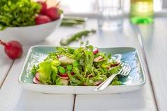 Belle salade verte saine de Paleo avec les pois et le radis photo libre de droits