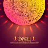 Belle salutation de célébration de diwali avec la décoration de mandala Images stock