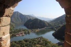 Belle scène de fenêtre de Grande Muraille de la Chine Image stock