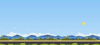 Belle scène de nature avec la route et la colline de campagne Photographie stock libre de droits