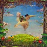 Belle scène de région boisée avec le petit garçon et le pélican brun en ciel Photo libre de droits