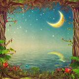 Belle scène de région boisée avec les arbres, le ciel et la lune au-dessus de la mer Photo libre de droits