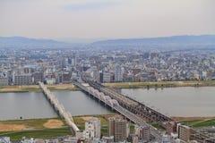 Belle scène du bâtiment de ciel d'Umeda Photos stock