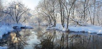 Belle scène givrée d'hiver avec la rivière débordante images stock