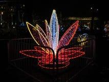 Belle sculpture magique de fête sous forme de fleur rouge de lis au festival des illuminations NeoYear 2018 sur Sofia à Kiev Images libres de droits