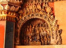 Belle sculture nel corridoio dharbar del corridoio di ministero del palazzo di maratha del thanjavur Immagine Stock Libera da Diritti