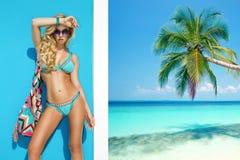 Belle, sexy femme dans le bikini posant sur la plage des Caraïbes Photo libre de droits