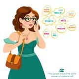 Belle, sexy femme parlant au téléphone Image stock