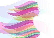 Belle silhouette de fille avec les cheveux coulants colorés Dirigez a Photos stock