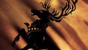 Belle silhouette de la position de cerfs communs sur ses sabots de derrière sur le fond de ondulation d'or de drapeau, boucle san illustration de vecteur