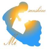 Belle silhouette de mère avec son bébé avec le fond floral Carte de jour de mères Image stock