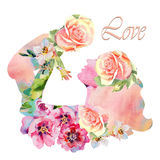 Belle silhouette de mère avec son bébé avec le fond floral Carte de jour de mères Images libres de droits