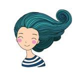 Belle sirène de jeune fille Thème de mer illustration stock