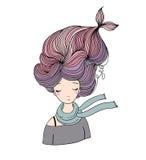 Belle sirène de jeune fille Thème de mer illustration libre de droits