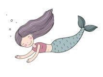 Belle sirène mignonne de bande dessinée avec de longs cheveux Sirène Thème de mer illustration stock