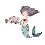 Belle sirène mignonne de bande dessinée avec de longs cheveux Sirène Thème de mer illustration libre de droits