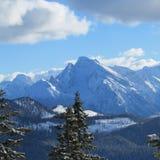 Belle sommità bianche delle alte montagne Fotografia Stock