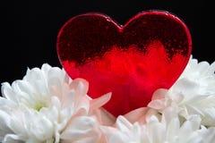Belle sucrerie en forme de coeur rouge en fleurs blanches sur le fond noir Photos libres de droits