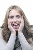 Belle une femme heureuse et étonnée Photographie stock libre de droits