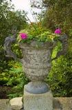 Belle urne en pierre avec des fleurs Photographie stock libre de droits