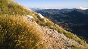 Belle végétation sur Lovcen dans Monténégro - transitoires d'automne et une vue de la plaine et des montagnes image libre de droits