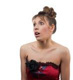 Belle verticale de studio de jeune femme   Image libre de droits