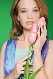 Belle verticale de tulipes de source Photos stock