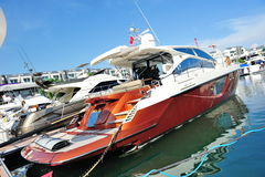 Belle Vie luxury yacht at Singapore Yacht Show Royalty Free Stock Photos
