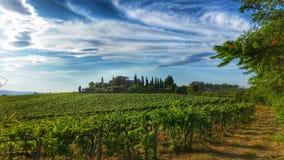 Belle villa avec le wineyard en Toscane Photo stock