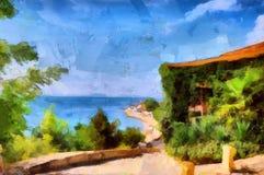 Belle viste del mare della pittura a olio nella città costiera Immagine Stock