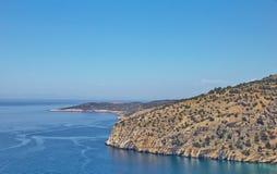 Belle viste di oceano in bel tempo dalla costa di Thassos, l'isola greca fotografie stock