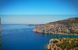 Belle viste di oceano in bel tempo dalla costa di Thassos, l'isola greca fotografie stock libere da diritti
