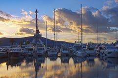 Belle vue égalisante de marina Porto Monténégro Monténégro, ville de Tivat photo libre de droits