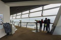 Belle vue aérienne du paysage urbain de port d'Osaka Images libres de droits