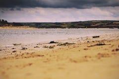 Belle vue au-dessus de la mer près filtre de vintage de Padstow du rétro Image stock