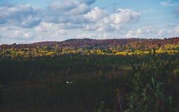 Belle vue au-dessus de paysage canadien typique de campagne avec la forêt colorée d'automne en parc d'algonquin, Canada photo stock